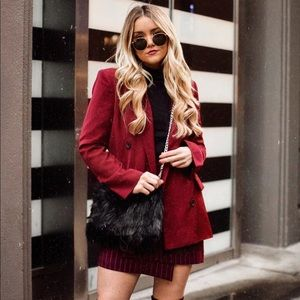 Dresses & Skirts - Pin striped asymmetrical burgundy skirt